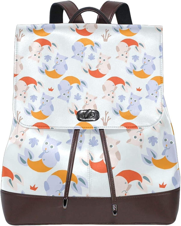 Fashion Shoulder Bag Rucksack PU Leather Women Girls Ladies Backpack Travel Bag Cute Mermaid Two Big Kittens