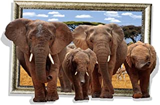 """Adult & Cub Elephants Approaching From a Distance 'Photo Frame' 3D Wall Sticker - 35"""" x 24"""""""