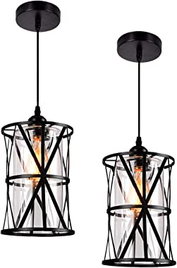 HMVPL Adjustable Pendant Lighting Fixture, Set of 2 Modern Iron Industrial Mini Swag Hanging Lamps with Glass Shade for Kitch