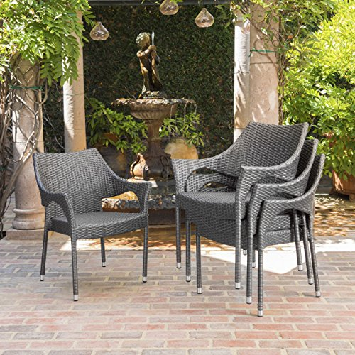 Christopher Knight Home Mirage Outdoor Wicker Stacking Chairs, 4-Pcs Set, Grey