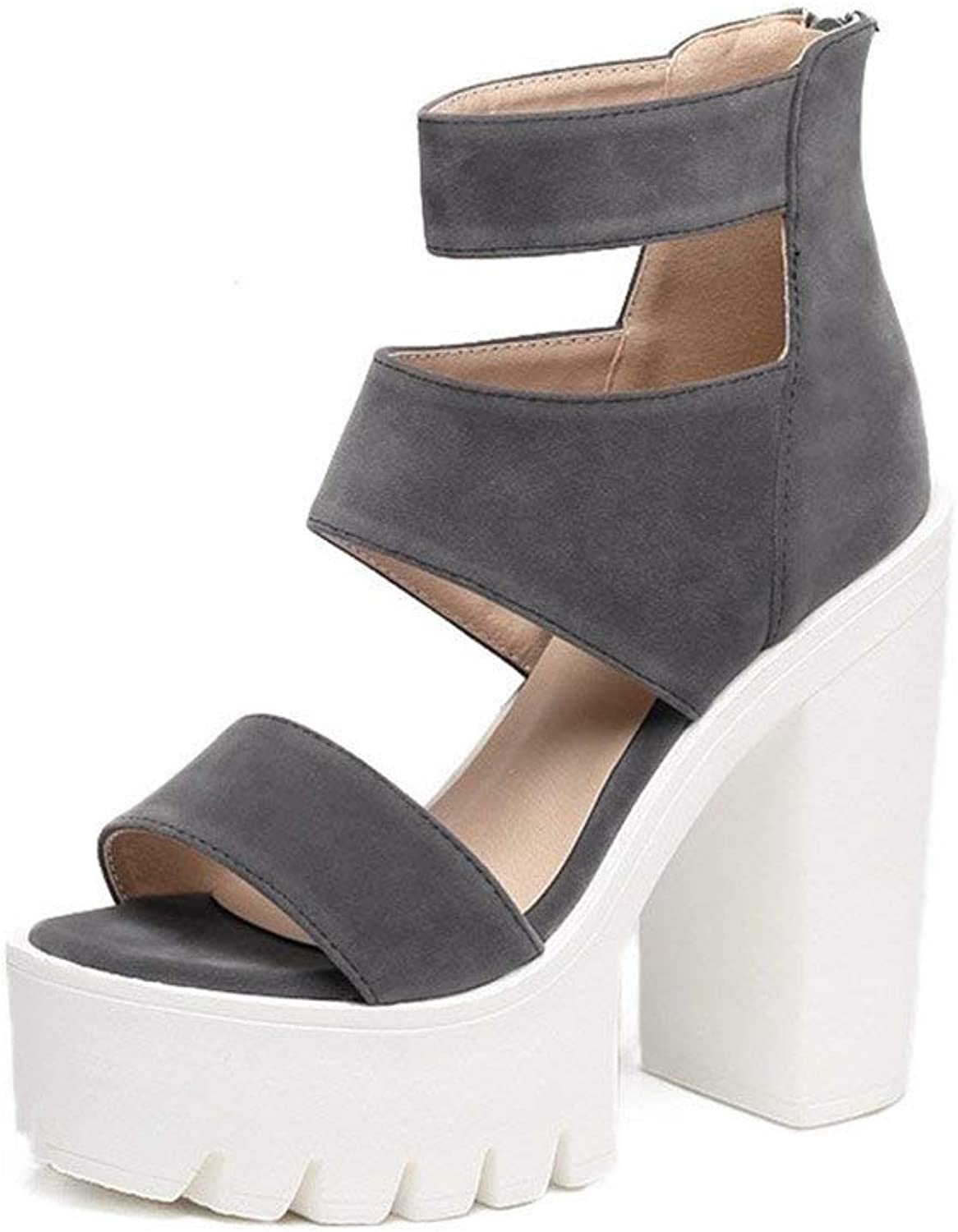 High Heels Women Sandals Casual Cut-Outs Open Toe Thick Heels Female shoes High Heels