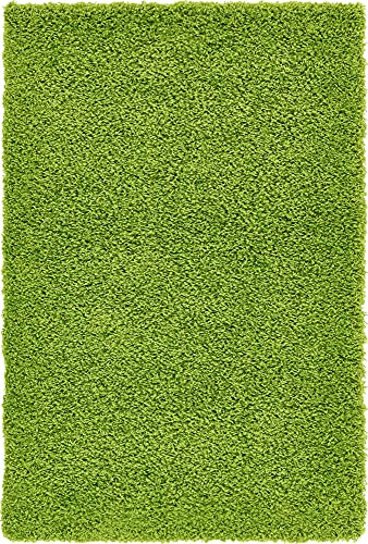 Unique Loom Solo Solid Shag Collection Area Modern Plush Rug Lush & Soft, 3' 3 x 5' 3, Grass Green