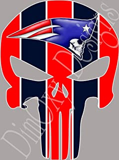 Patriots Punisher (Skull) Full Color Sport Fan Vinyl Decal/Sticker. Outdoor Rated for up to 7 Years, Scratch Resistant, UV Resistant! (SB11)