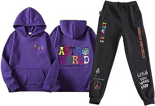 ASTROWORLD Abbigliamento Sportivo Felpa Pullover Hip Hop Streetwear Pantaloni della Tuta, Felpa con Cappuccio + Pantaloni