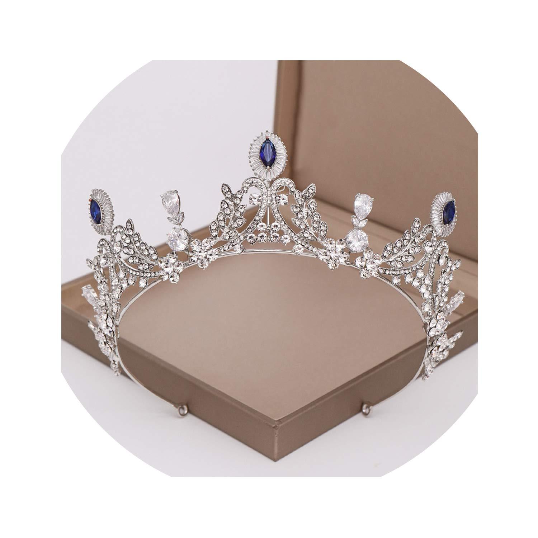 Cubic Zircon Crown Vintage Blue Crystal Heart Bridal Tiara CZ Crowns Wedding Headband Hair Ornament Silver