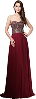Belle House Long Chiffon Prom Dresses Sweetheart Beaded Lace Up Bridesmaid Gowns