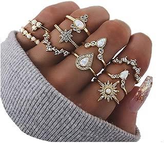 CSIYAN 6-16 PCS Knuckle Stacking Rings for Women Teen Girls,Boho Vintage Geometric Teardrop Crystal Midi Finger Rings Set Christmas Jewelry Gift