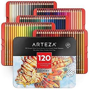 Arteza Lápices de acuarela profesionales para adultos y niños | Juego de 120 | Lápices de colores solubles en agua para…