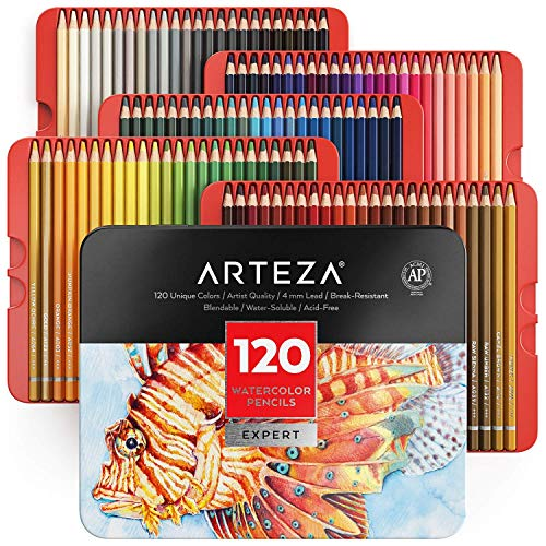Arteza Professional Watercolor Pencils for Adults & Kids, Set of 120, Water-Soluble Colored Pencils...