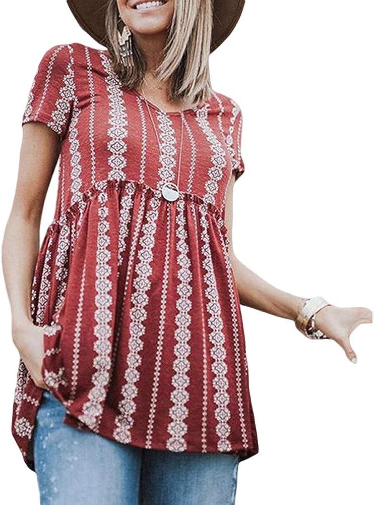 Tianzek Women Boho Floral Printed Short Sleeve V Neck Shirts Peplum Swing Tunic Tops Blouses