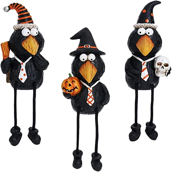 Special T Imports Halloween Black Crows Shelf Sitter Figurines Set Of 3 Holiday Kitchen Decor
