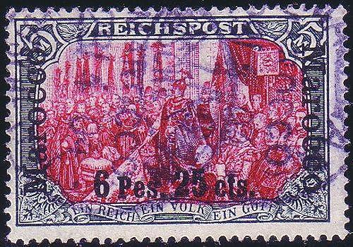 Goldhahn Deutsche Post Marokko Nr. 19 I III gestempelt geprüft Briefmarken für Sammler