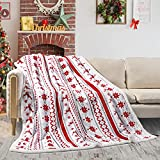 Christmas Sherpa Fleece Throw Blanket, Fuzzy Plaid Cozy Fluffy Throws Blankets for Couch Soft Twin Red Bedding Sofa Flannel Plush 60'x80'