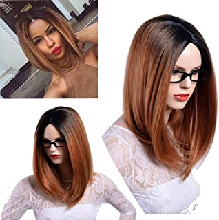 Charming Wig 2 Tone brown Bob Wigs Slight Side Part Shoulder Length 16 inches Synthetic Party Wigs
