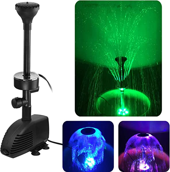 COODIA 660GPH 2500L H 110V 45W Submersible Pump Pond Fountain With Inside Filter And RGB Colorful LED Light Multiple Water Fountain Spray Nozzles Kit For Garden PondIndoor And Outdoor Landscape