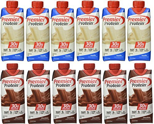 Premier Protein 6 Chocolate and 6 Vanilla Shakes 11oz by Premier Protein
