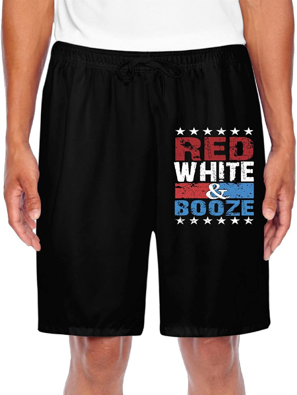 Men's Red White & Booze 4th Of July Party Funny USA Drinkin Shorts Gym