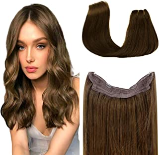 [Hot Color]LaaVoo Halo Hair Extensions Flip on Human Hair Extensions 20inch Dark Brown Brazilian Remy Soft Tangle Free One Piece Secret Wire Halo Hair 11 inch Width 100g Per Package