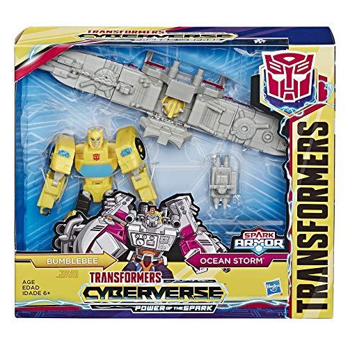 Transformers E4329ES0 Spielzeuge Cyberverse Bumblebee Action-Figur – lässt Sich für mehr Power mit dem Ocean Storm Spark Armor Fahrzeug kombinieren – Für Kinder ab 6 Jahren, 14,5cm