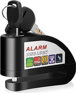 YOHOOLYO Disc Brake Lock, Anti-theft Motorcycle Motorbike Alarm Disc Lock, 110dB Alarm Sound and 6mm Pin Bonus Carry Pouch
