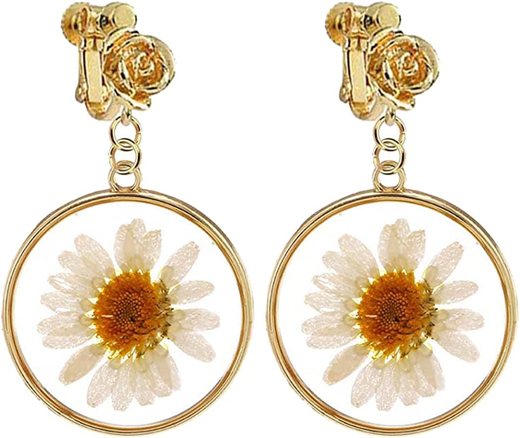 Dainty Flower Head Clip on Earrings Pressed Dry Flower Round Dangle Drop for Women Girls Costume Jewelry Gold Plated Hypoallergenic Non Pierced Ears Screw Back Design Birthday Gifts