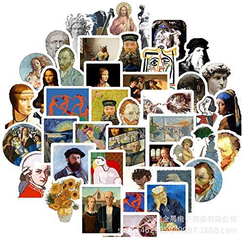 BLOUR Berühmte Künstler Ölgemälde Mona Lisa Aufkleber für DIY Laptop Scrapbooking Graffiti Tagebuch Etikett Briefpapier Dekor Aufkleber 50pcs