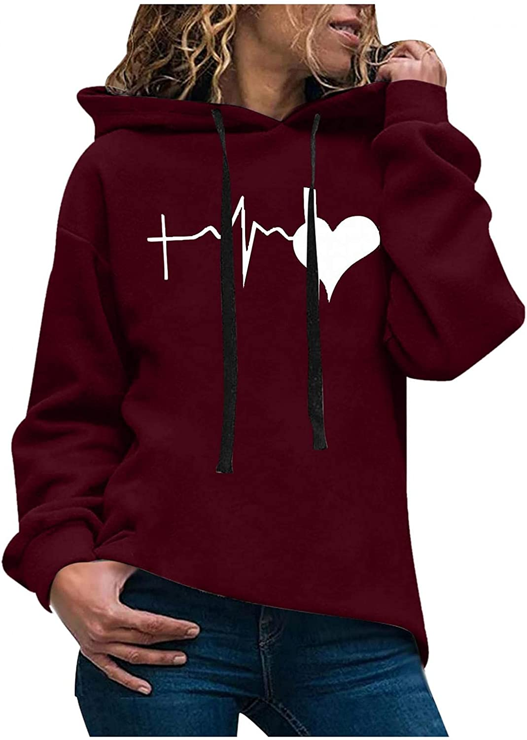 FABIURT Hoodies for Women, Womens Hoodies Graphic Heart Beats Printed Long Sleeve Shirts Pullover Plus Size Fall Tops