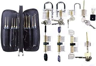 Moli 9pcs Transparent Lock Locksmith Practice Lock with 28pcs Lock Pick Tool Training Interesting Unlock Set
