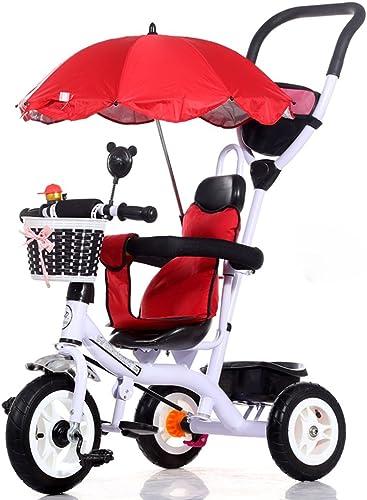 Kinder Dreirad 1-5 Jahre alt Fahrrad Trolley Baby Kinderwagen Kinder Fahrrad, lila   rot   blau   Weiß   Rosa, 71  105cm ( Farbe   Weiß )
