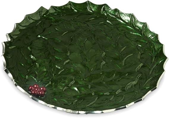 Green Julia Knight Lily Pad Platter Silver Mojito 10-Inch