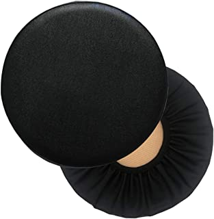 Jolitac 14 Inch PU Stool Cover Faux Leather Waterproof Round Seat Covers Office Chair & Bar Stools 2 Pack (Black)