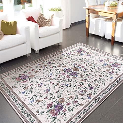 Taleta Aegean Teppich Orientalisch Aubusson mit Blumenmuster Border Wohnzimmer Beige 120x170cm