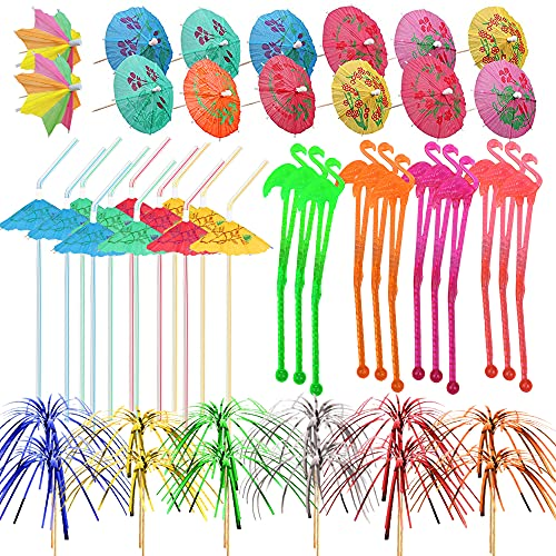 215Pcs Cocktail Party Decorations with Flamingo Cocktail Stirrers Umbrella Parasol Drinking Straws Umbrellas Sticks Foil Fireworks Picks for Summer Hawaii Tropical Party Decorations