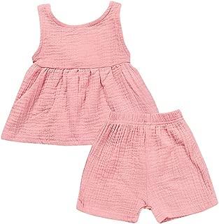 Fairy-Baby Kids Girls Summer Sleeveless Pleated Cotton Tank Tee Tops+Shorts Set