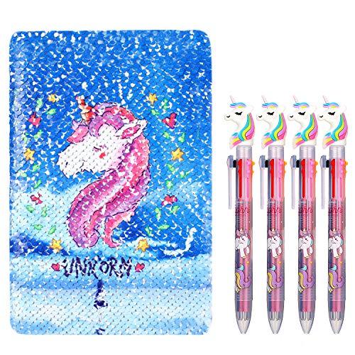 Leinuosen Unicorn Notebook Set, 4 piezas Unicornio Multicolor Bolígrafos con lentejuelas...