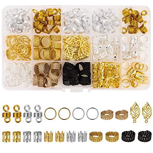Weirui 200PCS Hair Coil Dreadlocks Beads Aluminum Hair Braid Rings...