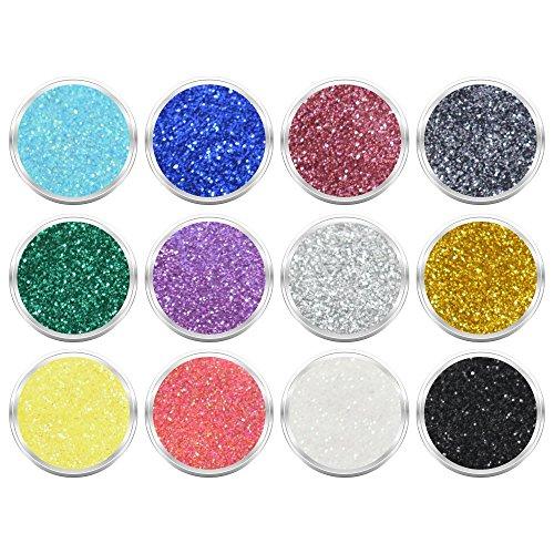 12 Döschen Nailart Glitzerpuder Glimmer Glitter Glitterstaub Set 002 in verschiedene irisierenden Farben