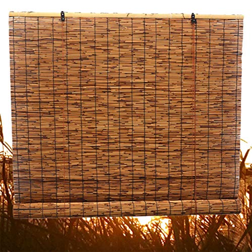 SunLin Karbonisierung Rollos Reed Vorhang, Schattierung Vintage-Dekoration Bambus-Rollo, Raffrollo Bambusrollo, Natürlicher Rollo-Schilf Vorhang, Mit Lifter, Anpassbar(60x120cm/24x47in)
