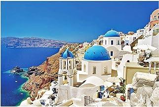ER- NMBGH 1000 PC Santorini Jigsaw, Mar Griega del Amor Puzzles, Rompecabezas Ensamble Creativo DIY del Hogar del Regalo para Los Adultos
