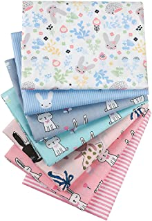 Hanjunzhao Rabbits Pastel Print Spring Fat Quarters Fabric Bundles for Quilting Sewing Crafting,18