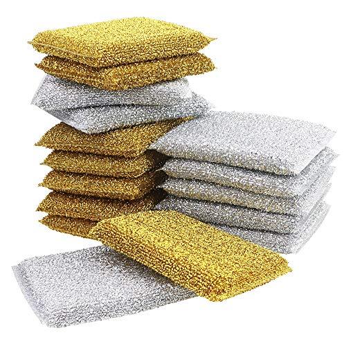 Fansunta 16 Pack Kitchen Scrubbing Sponges Scratch Scrubbing Cleaner Sponges Metal Dish Scouring Scrubbers (2 Colors)