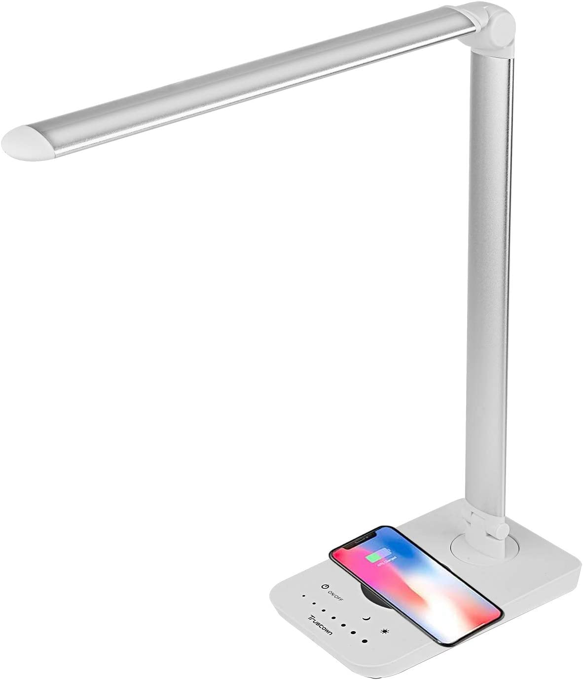 Trustown LED Desk Lamp Wireless Charger, Desk Light with USB Charging Port, 7.5W for iPhones and 10W for Samsung Phones, 9 Lighting Modes with 7 Brightness Levels, White