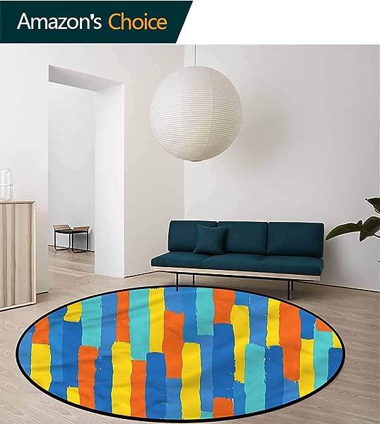 橄榄球现代圆形儿童地毯彩色条纹图像设计防滑织物圆形地毯书房直径 24