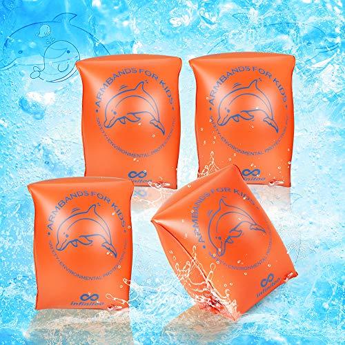 infinitoo Schwimmflügel Kinder, 2er Set Schwimmhilfe, Schwimmreifen Schwimmen Armbands für Kinder und Kleinkinder 15 - 30kg, Schwimmscheiben mit Delphin Design für Schwimmbad, Pool, Strand etc.