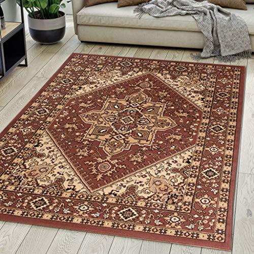 Tappeto Orientale Salotto a Pelo Corto Marrone 160 x 230 cm Classico Persian Design