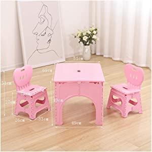 CHAXIA Child Table Chair Baby Toy Foldable Study Table Plastic Pink  Styles  Color