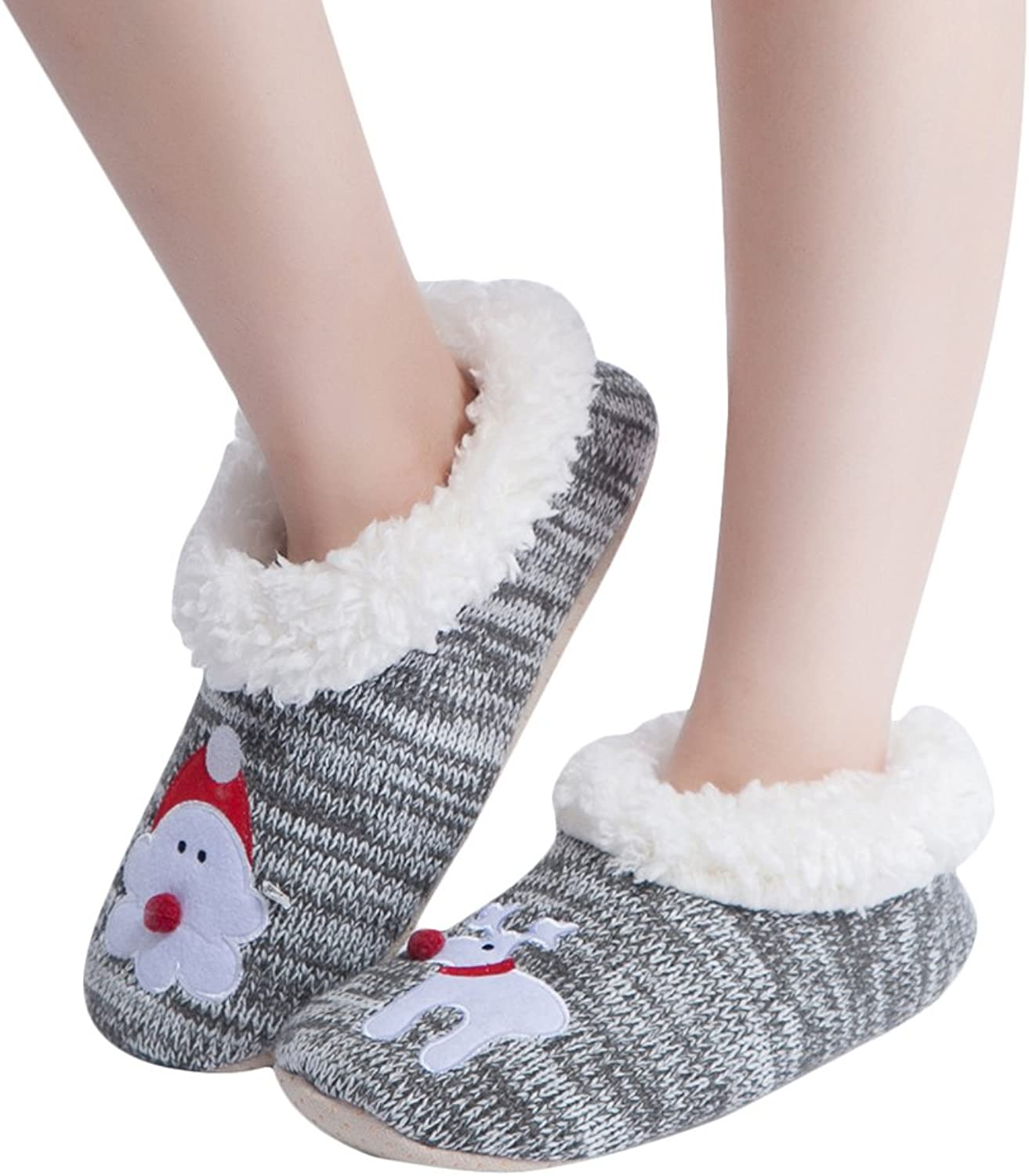 MaaMgic Womens Fuzzy Christmas Animal House Slippers Ladies Cute Bedroom Indoor Winter Knit Slippers