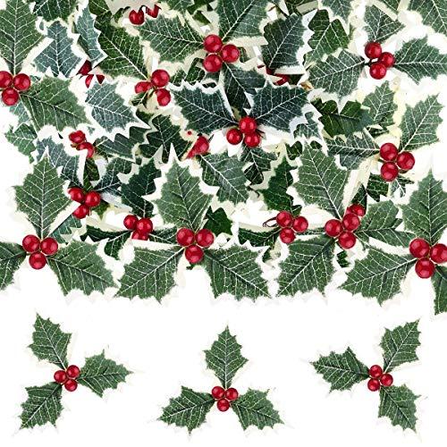 SUNSK Frutta Artificiale Piccoli Frutti di Bosco Bacche di Agrifoglio con Foglie Verdi la Decorazione della Festa di Natale L'Albero di Natale Festival Decorazioni 20 Pezzi