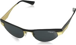 VOGUE Women's VO4105S Cat Eye Metal Sunglasses, Matte Black/Brushed Gold/Grey, 51 mm