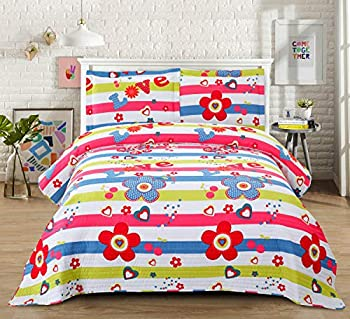 3-Piece Smuge Girls Floral Quilt Set with Colorful Stripes